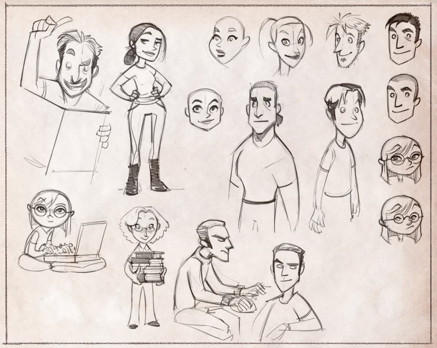 Up to Four Players - Initial character sketches
