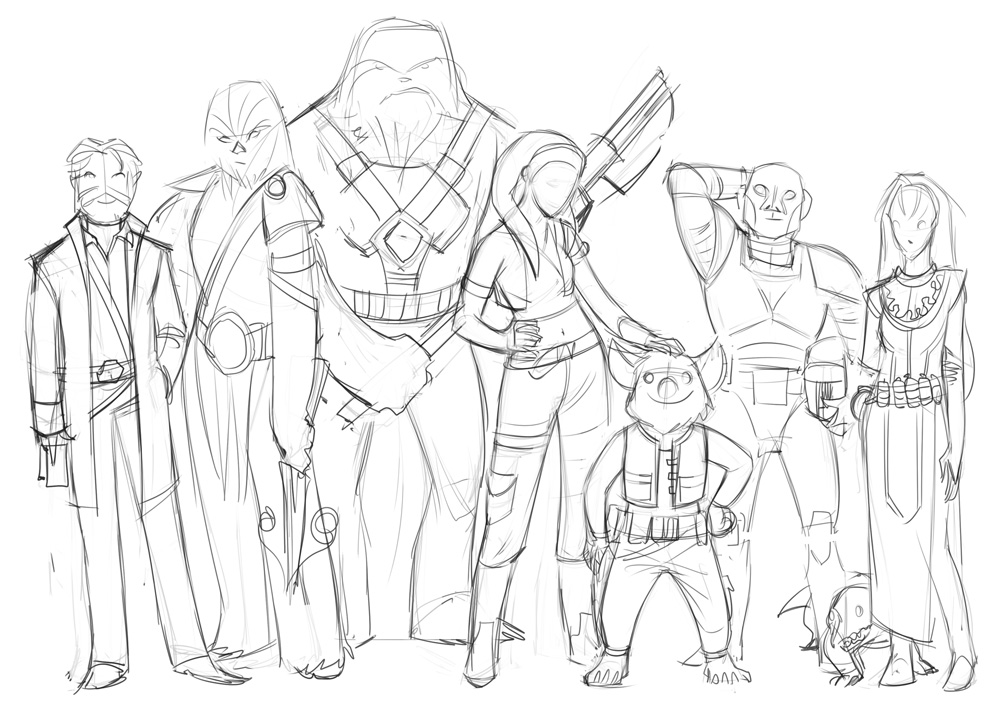 Edge of the Empire party: layout sketch