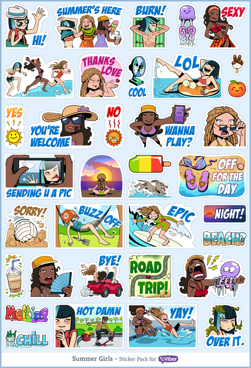 Viber sticker pack - Summer Girls